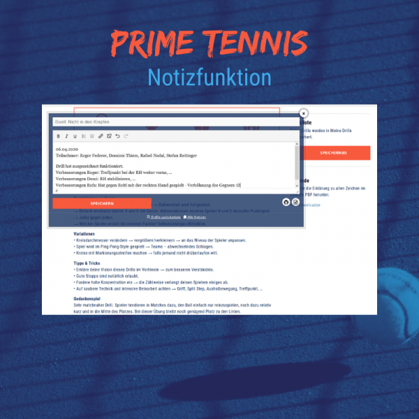 Shop temowo Prime Tennis Notizfunktion
