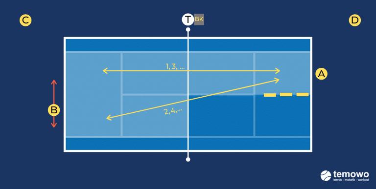 Grundliniendrill für das Tennistraining. Halbes Feld versus ganzes Feld